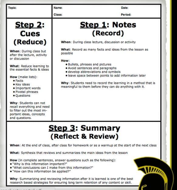 Cornell Note Taking System Mr Putnams English Classes